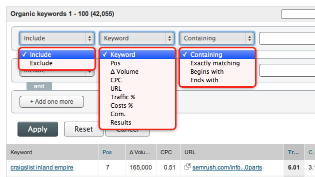 SEMrush: Filtering for Domain Organic and Ads keywords added! image 1