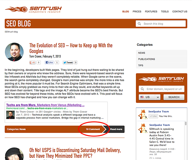 SEMrush: We have built a stylish SEMrush blog! We welcome you to share your point of view and leave comments! image 1