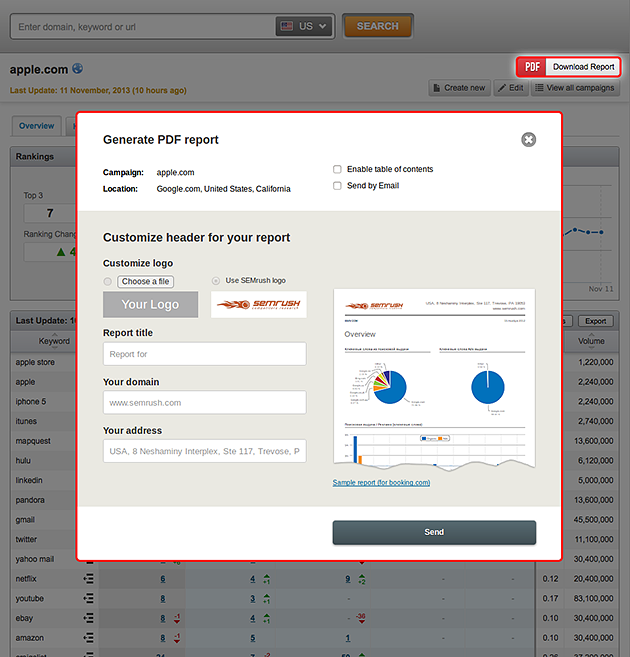 SEMrush: PDF Report Option for the Tracking Tool! image 1