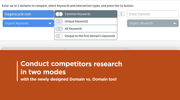 SEMrush: Conduct competitors research in two modes with the newly designed Domain vs. Domain tool! 画像 1