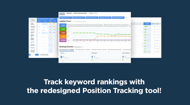 SEMrush: Track keyword rankings with the redesigned Position Tracking tool! image 1
