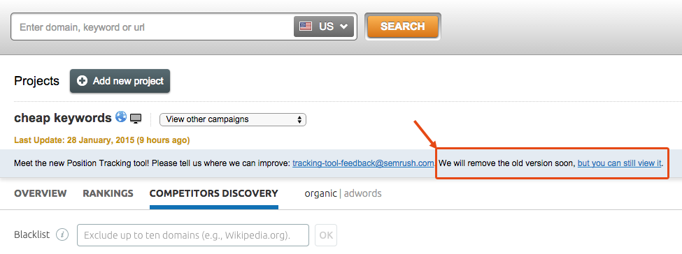 SEMrush: Track keyword rankings with the redesigned Position Tracking tool! image 3