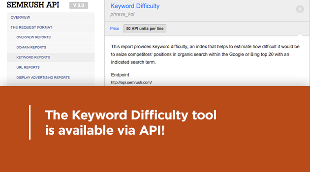 SEMrush: The Keyword Difficulty tool is now available via API! image 1