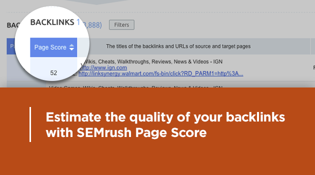 SEMrush: Estimate the quality of your backlinks with SEMrush Page Score image 1