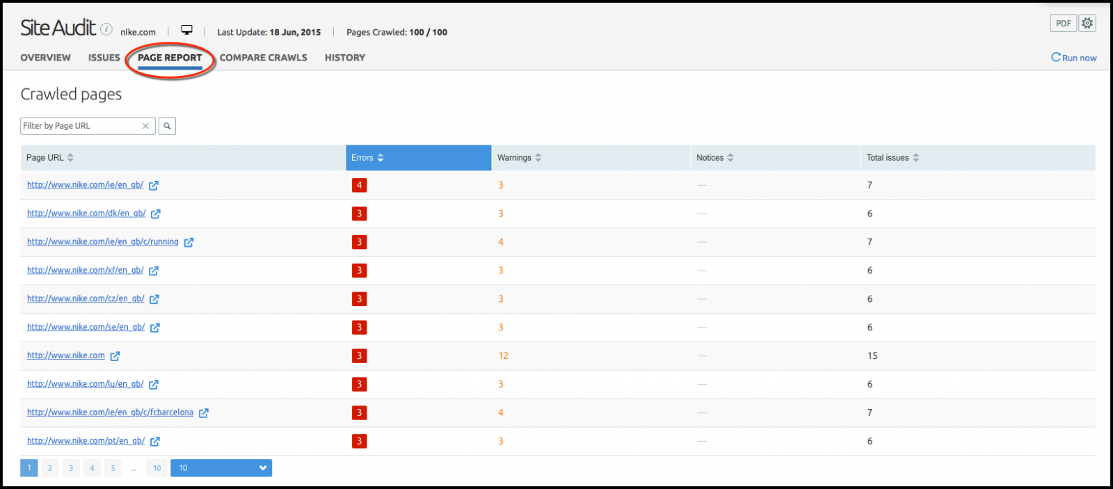 The updated SEMrush Site Audit tool's Page Report tab