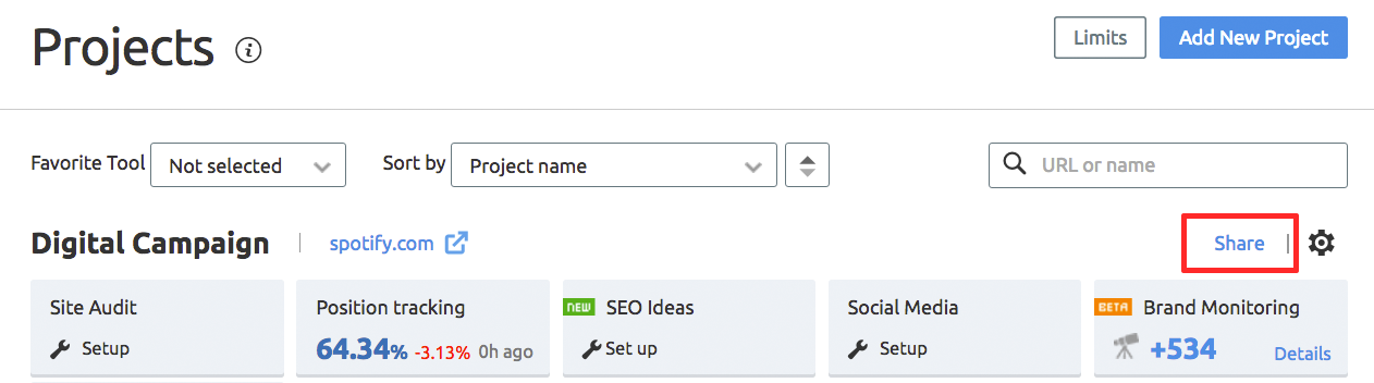 SEMrush: SEMrush Projects: the Pre-release of our Sharing Feature  immagine 2