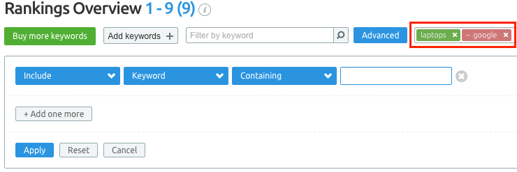 SEMrush: Position Tracking Tool: Exclude Filtering By Tags image 4