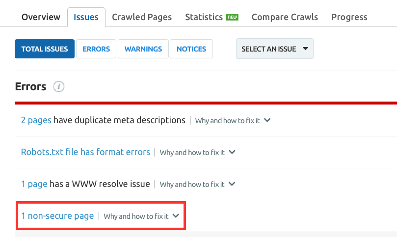 """SEMrush: Site Audit: On-demand Checks for """"Not Secure"""" Pages image 3"""