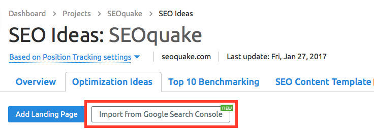 SEMrush: SEO Ideas: Google Search Console Integration image 2