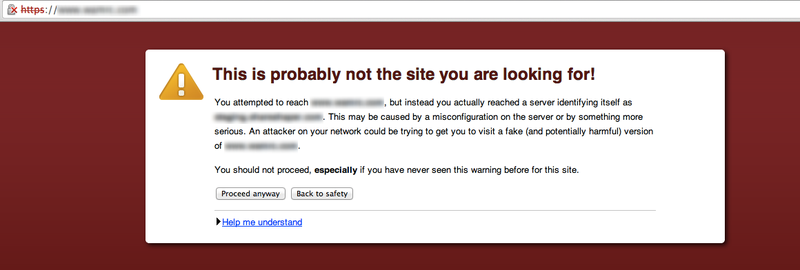 Certificate registered to incorrect domain name warning