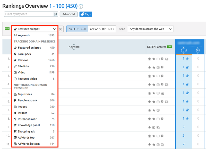 Position Tracking SERP features filter