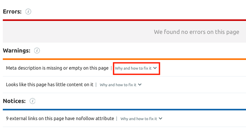 Site Audit Crawled Pages URL report