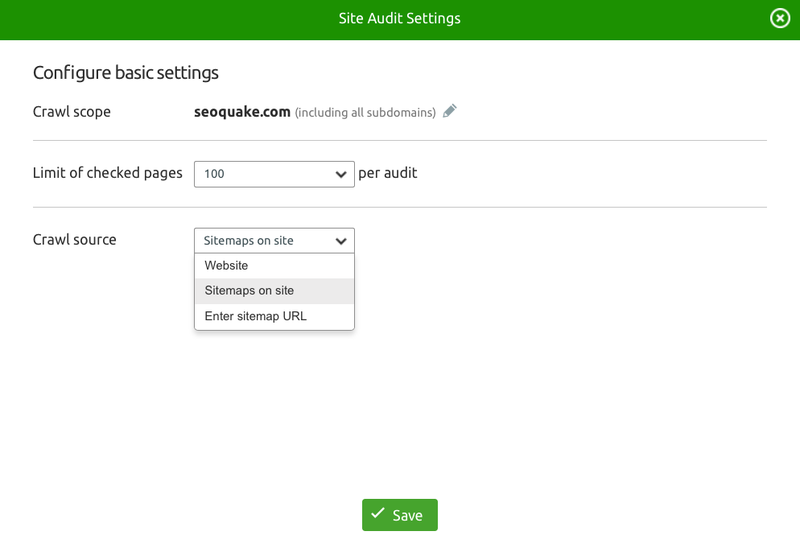 Crawl all links of your sitemap with Site Audit