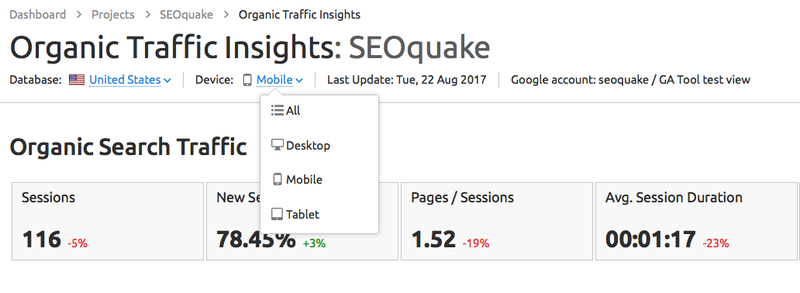 Filter data taken from Google Analytics, Google Search Console and SEMrush by device