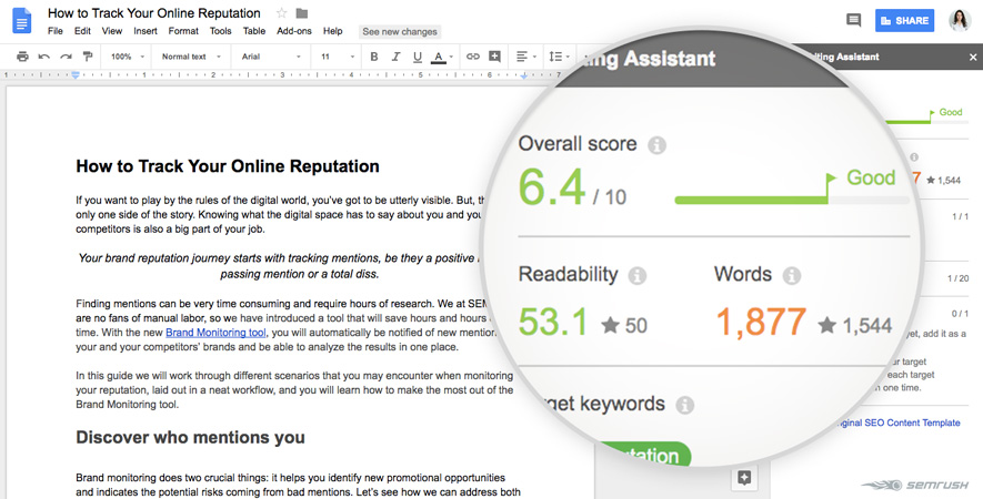 SEO writing assistant functioning