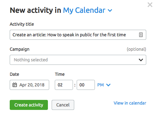 Plan your activity with Marketing Calendar