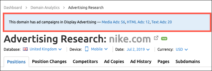 Advertising Research display advertising preview feature screenshot
