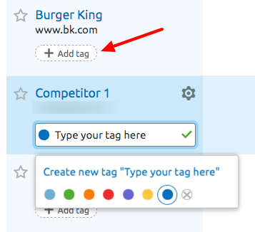 SEMrush Projects adding tags