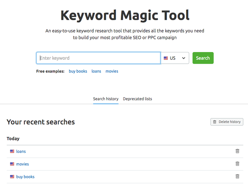 Keyword Magic Tool search history