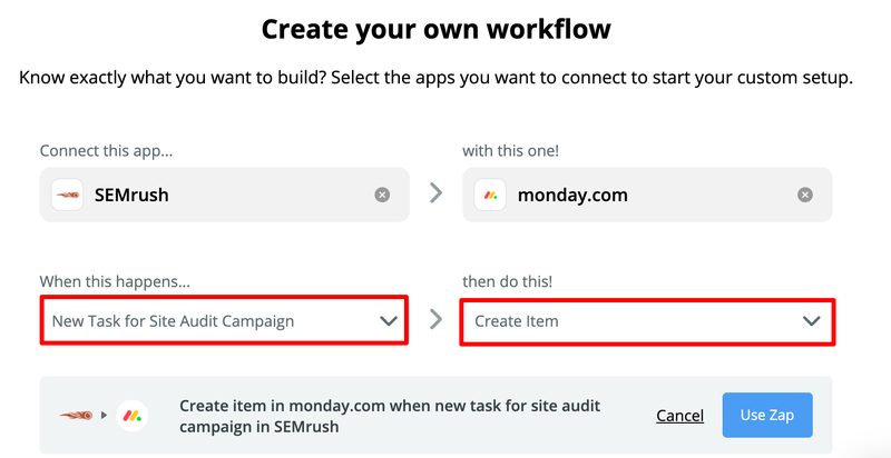 SEMrush: Extend Site Audit Functionality With Zapier Integration image 1