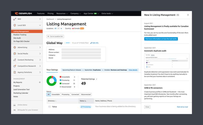 SEMrush: Listing Management Is Finally Available for Canadian Businesses изображение 2